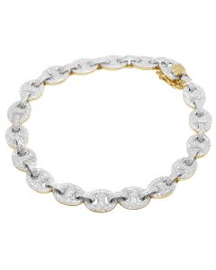 "10K Yellow Gold Iced Puff Anchor Marinar Chain Bracelet 7.75"" 7CT"