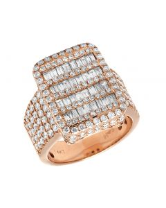 Mens 14K Rose Gold Real Diamond Baguette Invisible Pinky Ring 3.75CT