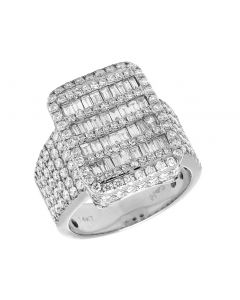 Mens 14K White Gold Real Diamond Baguette Invisible Pinky Ring 3.75CT