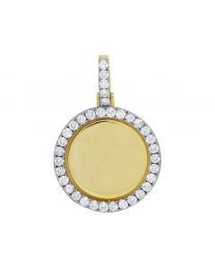 "10K Yellow Gold Diamond Rotating Memory Pendant 1.75"" 2.9CT"