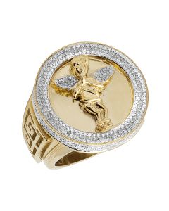 Men's Sterling Silver Angel Real Diamond Yellow Finish Pinky Ring .33ct
