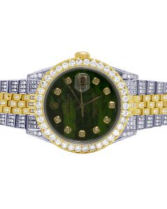 Rolex Datejust 18K/ Steel 36MM Green Dial Diamond Watch 12.5 Ct