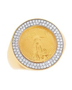 Men's 10K Yellow Gold 1/10 Oz Lady Liberty Coin Diamond Ring 0.51 Ct 22MM