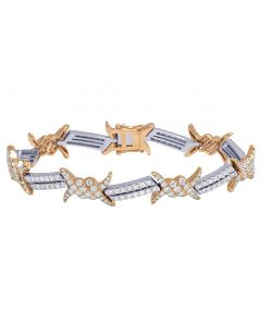 "14k Two-Tone Thorn Barbed Wire Diamond Designer Bracelet 8.25"" 8.4CT"