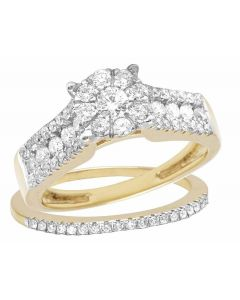 10K Yellow Gold Genuine Diamond Two Piece Bridal Wedding Ring Set 1 2/5 Ct 7MM