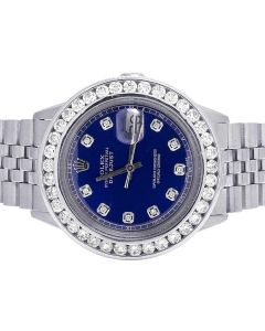 Rolex Datejust 36MM Stainless Steel Blue Dial Diamond Watch 5.25 Ct