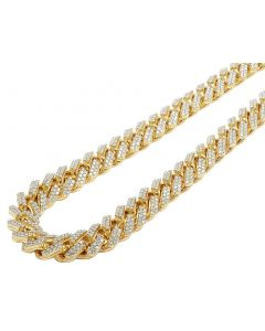 "Yellow Gold XL Prong Set Layered Diamond Cuban Chain 15mm 24"" 38.75 CT"