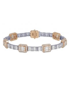 14k Two-Tone Gold Diamond Baguette Square Bracelet 10MM 7.87CT