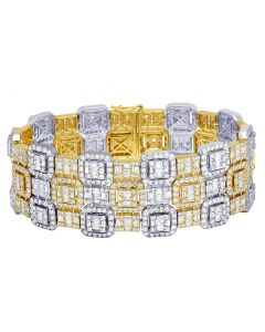 "Two-Tone Three Row Baguette Halo Diamond Bracelet 29MM 8.25"" 27.75CT"