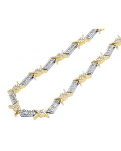 "Two Tone Yellow White Gold Barbed Wire Thorn Baguette Diamond Chain 22"" 14.6 CT"