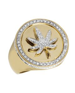 Men's Yellow Gold Finish Maple Leaf 3D Real Diamond Pinky Ring .33ct