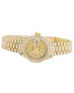 Ladies Rolex 18K Yellow Gold 26MM Presidential VS Diamond Watch 9.0 Ct