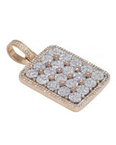 """Two-Tone Diamond Flower Cluster Rectangle Dogtag Pendant 1.69"""" 2.1CT"""