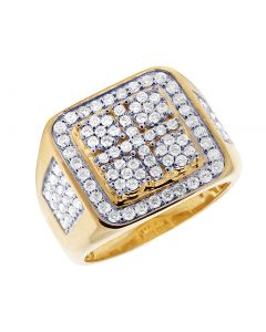 10K Yellow Gold Real Diamond Square Pinky Men's Ring 1.90 CT 18MM