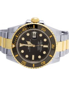 Mens Rolex 18K/ Steel Two Tone Submariner 40MM Black Dial Watch