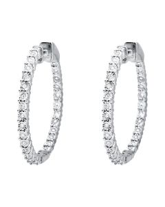 "10K White Gold Miracle Set One Row Inside-Out Diamond 1"" Hoop Earrings 0.50ct."
