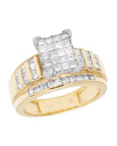 10K Yellow Gold Baguette Princess Diamond Engagement Ring 1 Ct 10MM
