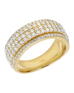 10K Yellow Gold Real Diamond 5 Row Ring Band 2.50 CT 9MM