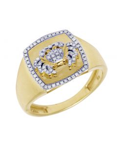 10k Yellow Gold Cancer Zodiac Sign Diamond Ring 14MM .2CT