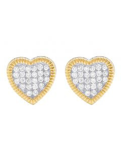 Real 10K Yellow Gold Diamond 3D Heart Cluster Stud Earring 0.85 Ct 11MM