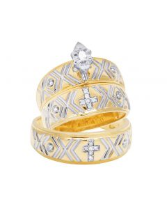 10K Yellow Gold Diamond Marquise Cross Trio Wedding Ring Set 0.12 Ct