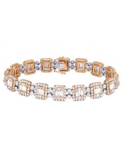 "14K Two Tone Gold Diamond Baguette Halo Bracelet 8"" 11MM 12.75CT"