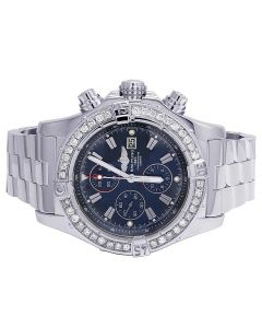 Custom Breitling A13370 Super Avenger Blue Dial Diamond Watch 4.5 Ct