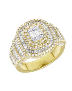 Men 10K Yellow Gold Real Diamond Halo Baguette Center Ring 17MM 2.85CT Size 9.5