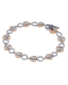 Ladies Rose/ White Open Work Diamond Tennis Fashion Bracelet 2.75 CT