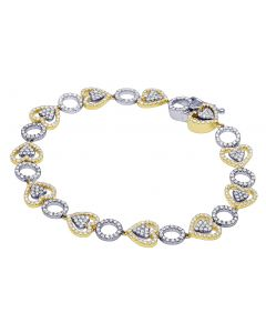 Ladies Yellow/ White Open Work Diamond Tennis Fashion Bracelet 2.75 CT
