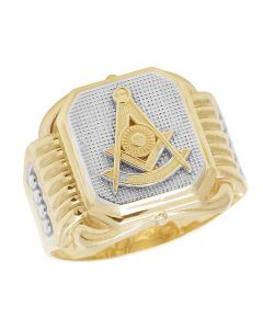 Men's 10K Yellow Gold Masonic Freemason Ring 17MM