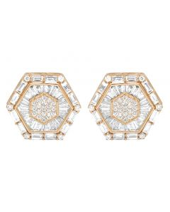 10K Rose Gold Baguette Real Diamond Hexagon Stud Earrings 15MM 2.75 CT