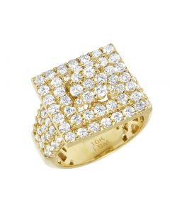 10K Yellow Gold Real Diamond Square 2 Row Halo Cluster Ring 17MM 3.50CT Size 9.5