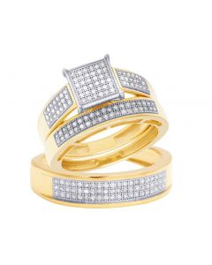 10K Yellow Gold Diamond Trio Wedding Engagement Ring Set 0.65 Ct