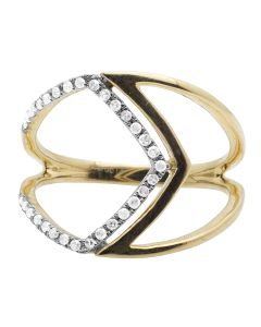 10K Yellow Gold One-Row Pave Diamond Cocktail Ring 0.17CT