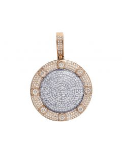 "Two-Tone Gold Pillow Dome Medallion Round Diamond Pendant 1.8"" 1.5CT"