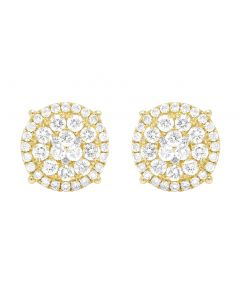 10K Yellow Gold Real Diamond Flower Cluster Double Halo Stud Earrings 10mm 0.85CT