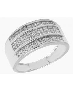 10K White Gold Men's 3 Row Pave Real Diamond 11mm Ring Band 0.5 CT