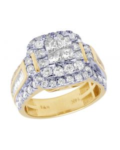 Bridal 14K Yellow Gold Princess Cut Halo Real Diamond Ring 2.40CT