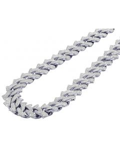 "White Gold Pave Diamond Thorn Cuban Chain 22MM 22"" 51 CT"