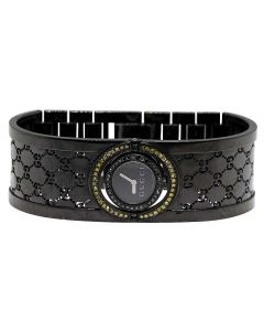 Ladies Gucci Twirl Black Dial Bangle Diamond Watch 1.0 Ct YA112531