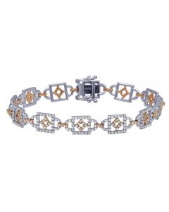 Ladies Two Tone OpenWork Diamond Tennis Fashion Bracelet 2.85 CT