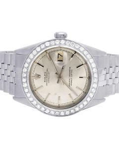 Rolex Datejust 36MM Stainless Steel Silver Dial Diamond Watch 2.5 Ct