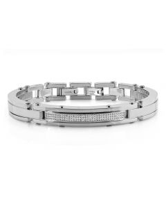 "Mens Curved Bangle Style Diamond Bracelet BR2A by Arctica 8.5"" 0.65Ct"
