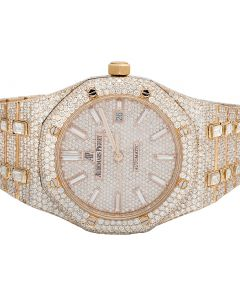 Audemars Piguet 18K Rose Gold Royal Oak 41MM Diamond Watch 34.75 Ct