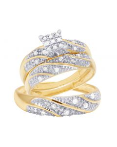 10K Yellow Gold Diamond Trio Wedding Engagement Ring Set 0.33 Ct