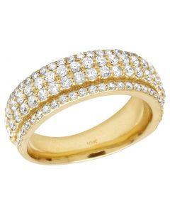 10K Yellow Gold Real Diamond 4 Row Ring Band 2.15 CT 8MM