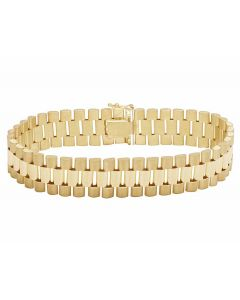 Solid 10K Gold Men's Presidential Style Designer Bracelet 12MM