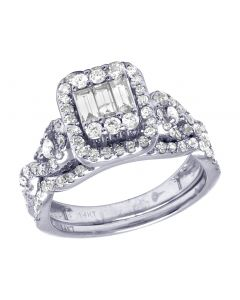 14K White Gold Real Diamond Baguette Bridal Ring Set 1.15 CT