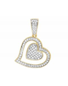 Ladies 10K Yellow Gold Tilted Double Heart Genuine Diamond Pendant 1/5 Ct 22MM